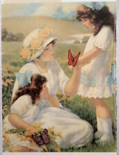 """Victorian Lithograph Print Picture """"Butterflies"""" Mother And Child Kids 9"""" X 7"""""""
