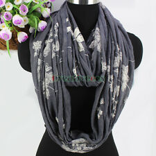 Fashion Womens Flowers Embroidery Gray Background Soft Cotton Infinity Scarf New