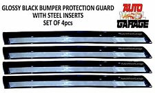 Bumper Protection Guard for Renault Fluence-Glossy Black-Steel Insert