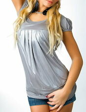 SeXy MiSS Double Look Wet Look Metallic Top Ballon style 34/36/38 NEU grau