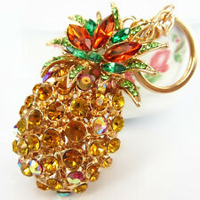 Pineapple Ananas Fruit New Pendent Charm Crystal Purse Bag Keyring Key Chain Gif