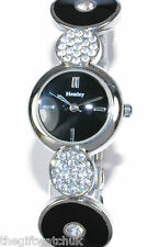 Henley Womens Watch, Art Deco with Real Crystals Black & Silver Tone, Gift Boxed