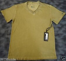 Dark by Fusion Men's Faded Camel Embellished V-Neck Short Sleeve T shirt 2XL,XXL