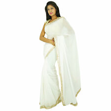 Indian Ethnic Party Wear Sari Designer Bollywood Wedding Georgette White Saree