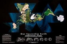 Our Spaceship Earth Satellite Map by Buckminster Fuller - Dymaxion Projection