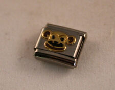 MONKEY FACE -AUTHENTIC Nomination Bracelet Charm-Stainless Steel w/18k gold