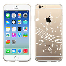 Transparent Flexible TPU Phone Case for Apple iPhone 6 / 6s - White Music Notes