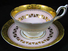 FOLEY PALE PINK FANCY DESIGNS ETCHED GOLD TEA CUP AND SAUCER