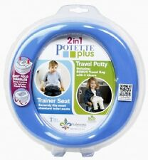 Potette Plus On the Go Toddler Travel Potty Training Toilet Seat, Blue