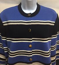 Women's Jaeger 100% Wool Cradigan Sweater, Button Front, Striped, Gold Buttons