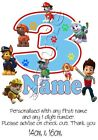 IRON TRANSFER PERSONALISED BIRTHDAY ANY NAME/NUMBER PAW PATROL dog RYDER 14x16cm