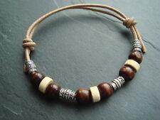 Natural el cordón De Cuero Pulsera Brazalete De Madera Y Plata Tibetana Azteca Canutillos