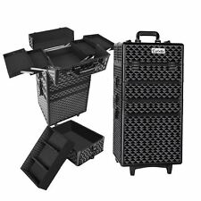 7 in 1 Portable Beauty Make up Cosmetic Trolley Case Diamond Black Shopiverse