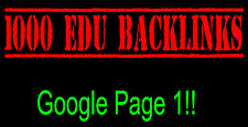 Premium 1,000 EDU Link Building SEO Domain Backlinks FIRST Page of Google!
