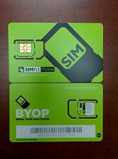 NEW Simple Mobile DUAL Sim Card Prepaid T-MOBILE NETWORK. MICRO OR STANDARD