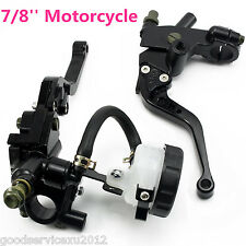 "Black 7/8"" Motorcycles Front Brake Master Cylinder Clutch Fluid Reservoir Levers"