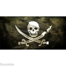 JOLLY ROGER SKULL AND CROSSNBONES SWORD PIRATE METAL LICENSE PLATE MADE IN USA