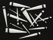 1 Pair Straight White Acrylic Tapers Piercings Gauges Ear Plugs Stretchers 14g