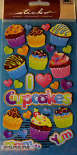 NEW 29 pc PARTY GOODIES Cupcakes Frosting Sprinkles Yum Hearts STICKO Stickers