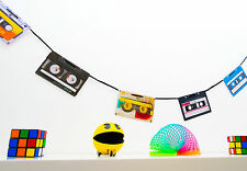 70s 80s 90s party décoration-rétro cassette bunting - 160cm