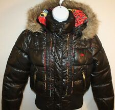 Ecko Red Ladies Juniors Black Winter Hooded Zip Up Puffer Jacket Coat Sz L