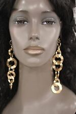 New Women Earrings Gold Metal Chain Long Round Circles Dangling Sexy Statement