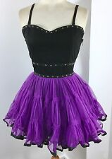 DEAD THREADS Black Purple Net Tutu PUNK FAIRY Goth Dress HALLOWEEN Sz L 10-12
