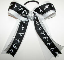 Gymnastics Lyrical Dance Ribbon Bow Black White Silver Girls Hair Accessories