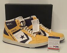 "Magic Johnson Signed Converse Weapons Shoes ""5x NBA Champ"" ""HOF 02"" PSA Lakers"