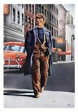 MOVIE POSTER~James Dean Ledo Club Smoking OverCoat Walking Print Vintage Look~