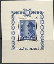 CROATIA : 1943 Croat Youth Fund Miniature  Sheet PERFORATED  SG MS81a MNH