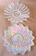 "A pair of 9 1/4"" dia. iridescent/carnival glass dishes for candy, nuts or snacks"