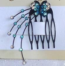 NEW Rhinestone Hair Comb Blue Turquoise Black Butterfly Hair Jewelry Crystal