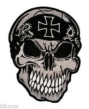 Skull with Iron Cross Back Patch 7 1/2 x 10 1/4 inch (19CM x 26CM)