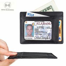 Slim Leather Wallet Men Money Case Holder Credit Card RFID Blocking Sleeves Safe