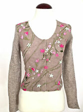 Moschino beige embroidered pink flowers sweater 6 with angora.