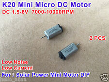 2PCS Mini Solar Power K20 DC Motor High Speed Low Noise Low Current DC 1.5V~6V