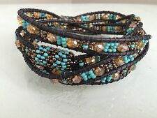 Czech GLASS Bead TURQUOISE BRONZE Wrap Bracelet Cuff Bangle Shamballa Guatemala