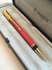 1990 PARKER DUOFOLD INTERNATIONAL BIG RED GT BALLPOINT PEN-BOXED-SUPERB