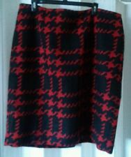 NWT $139 Talbots Woman Petites Red & Black Fully Lined Wool Dress Skirt 18WP 2X