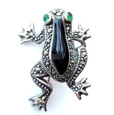 ONYX FROG PIN BROOCH Green CZ Eyes Marcasite .925 STERLING SILVER