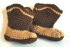 Crochet Baby Toddler Cowboy Boots Photo Prop Boots Brown Tan Handmade