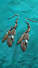 NATIVE Navajo INDIAN DOUBLE FEATHER EARRINGS TURQUOISE HIGHLIGHTS BRONZE LOOKING