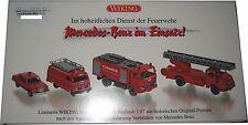 Wiking 099088 4-teiliges Feuerwehrset Merceds-Benz im Einsatz 1:87 limitierte Wi