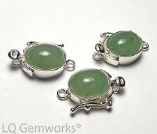 GREEN AVENTURINE 925 Sterling Silver 8x10mm Box Clasp