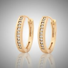 Nice-looking LUXURY 18K gold filled white sapphire FASHION hoop earring