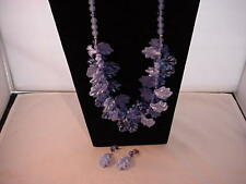 Vintage Plastic Blue Leaf Beaded Necklace and Earrings 1970's