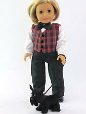 "Fits 18"" American Girl Boy Doll Clothes Scottish Outfit Dog Vest Shirt Pants 3Pc"