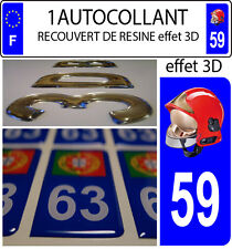 1 sticker plaque immatriculation auto DOMING 3D RESINE CASQUE F1 POMPIER DEPA 59