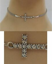 Silver Cross Connector Choker Necklace Handmade Adjustable Gray new fashion